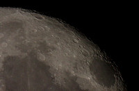 Moon close-up showing craters